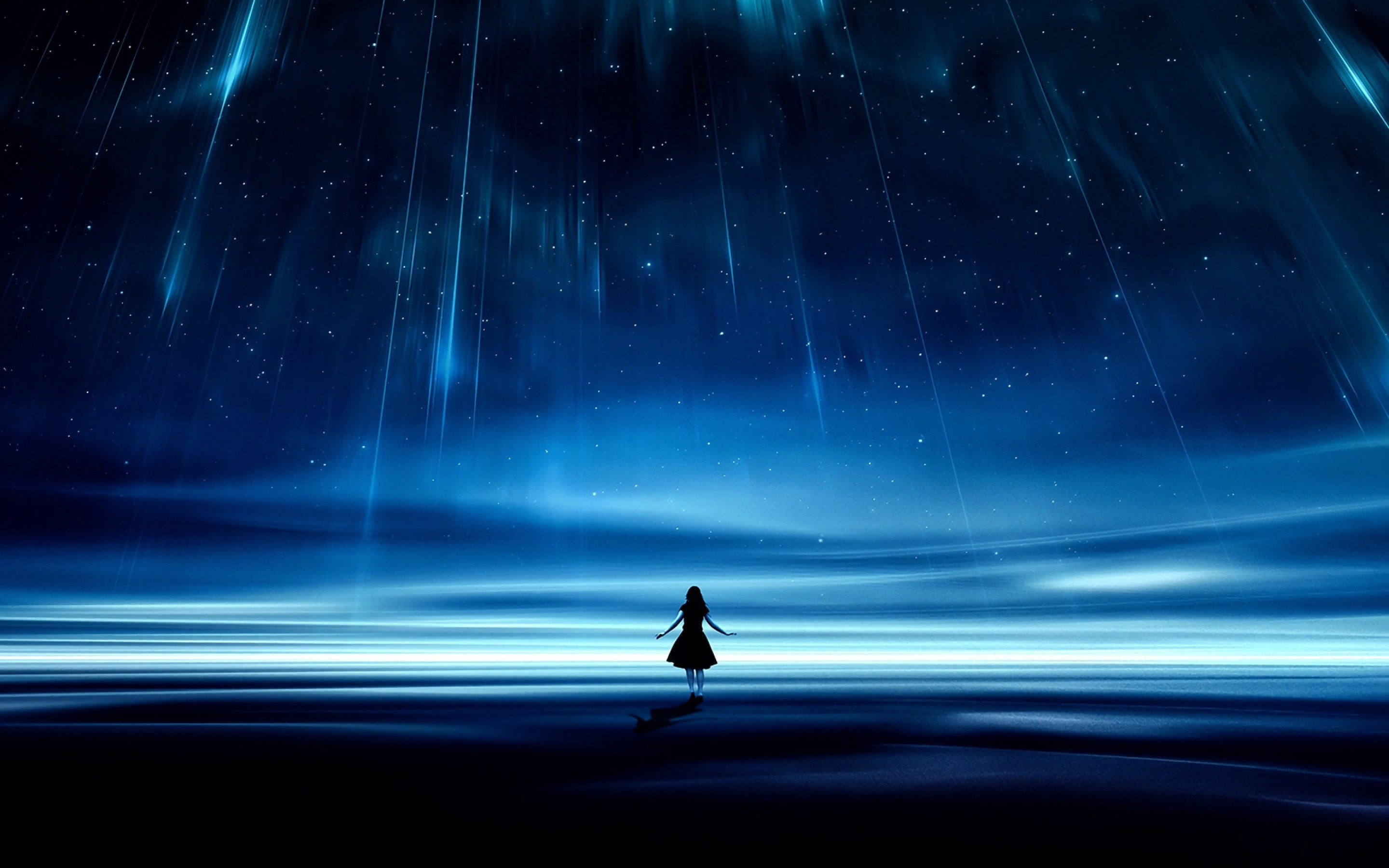 Girl silhouette under a starry sky HD Wallpaper