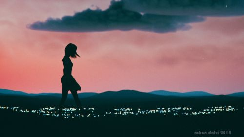 Girl silhouette walking at night HD Wallpaper