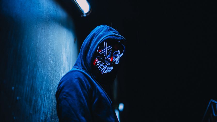 Glowing Mask At The Dark Hd Wallpaper Wallpapersnet