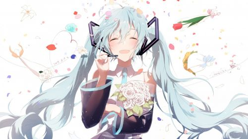 Hatsune Miku Smiling HD Wallpaper