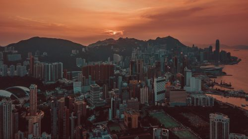 Hong Kong sunset HD Wallpaper