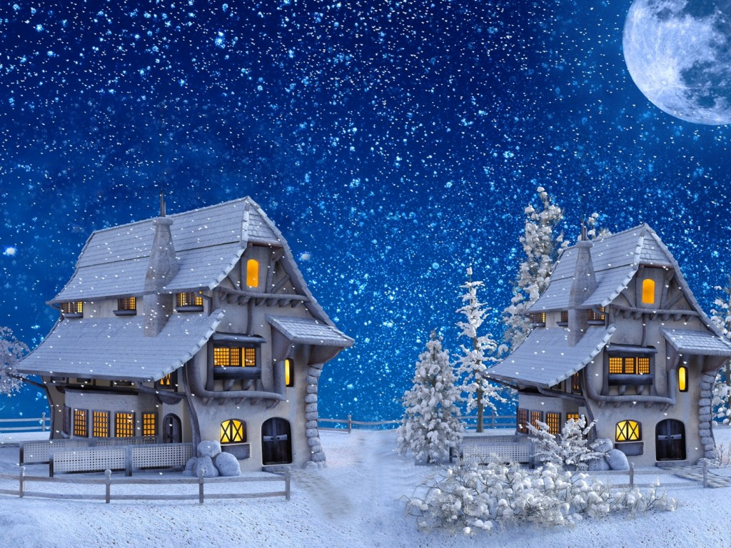 Houses covered in snow painting HD Wallpaper