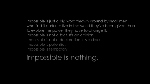 Impossible is nothing HD Wallpaper