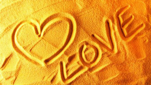 Love Written on Sand Wallpaper for Desktop and Mobiles