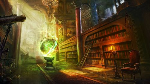 Magic ball inside library HD Wallpaper