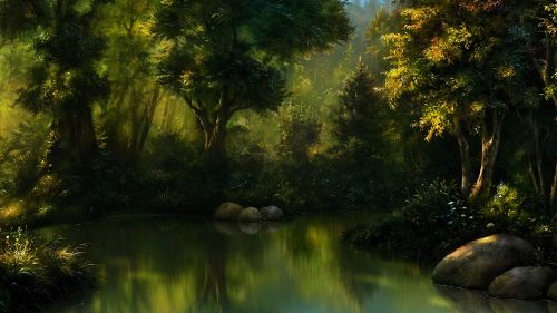 Magical lake at the midlle of the forest HD Wallpaper