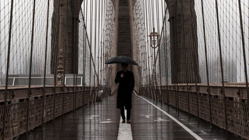 Man walking on the bridge HD Wallpaper