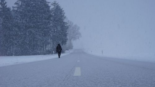 Man walking through snowstorm HD Wallpaper