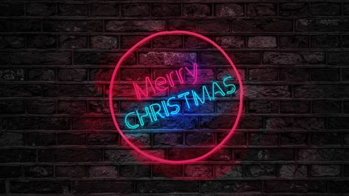 Merry Christmas Neon Sign HD Wallpaper