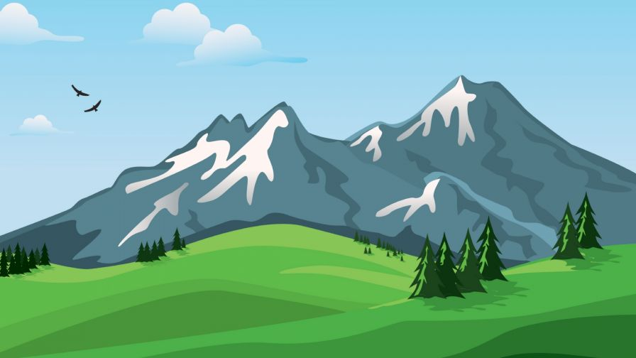 Mountains painting HD Wallpaper