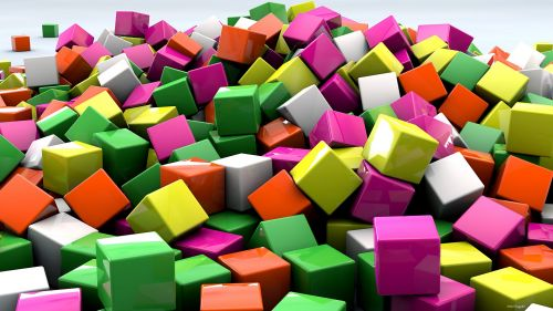 Multicolored cubes HD Wallpaper