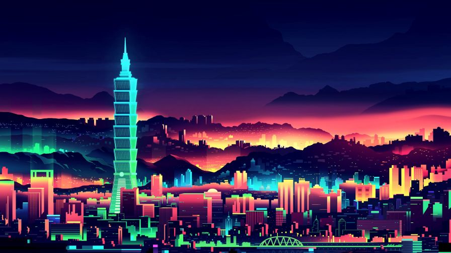 Neon City Wallpaper For Desktop And Mobiles Wallpapers Net