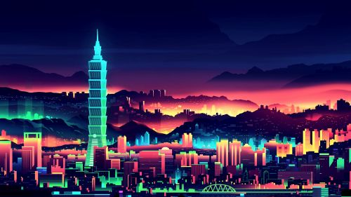 Neon City Wallpaper for Desktop and Mobiles