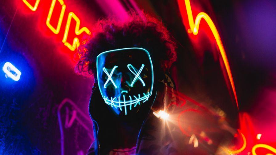 Neon Mask Hd Wallpaper Wallpapers Net
