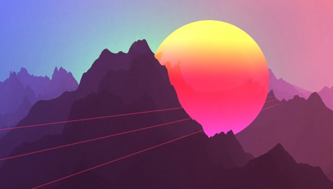 Neon Sunset Mountains