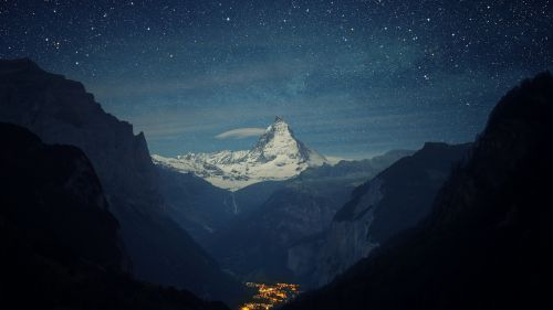 Night at Alps mountains HD Wallpaper
