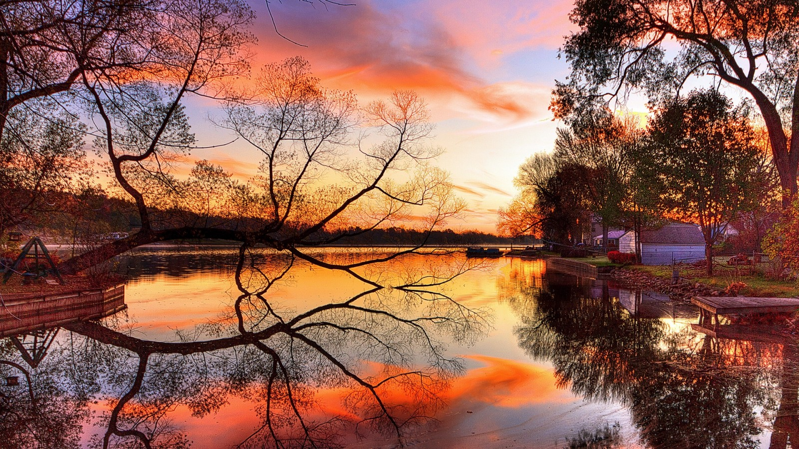 Night reflection at the lake HD Wallpaper