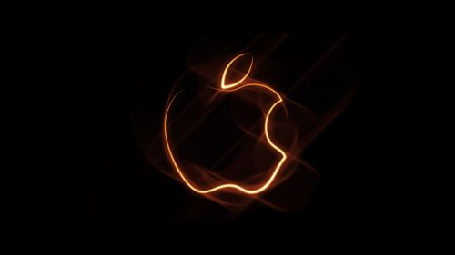 Orange Outline Apple Logo Wallpaper for Desktop and Mobiles