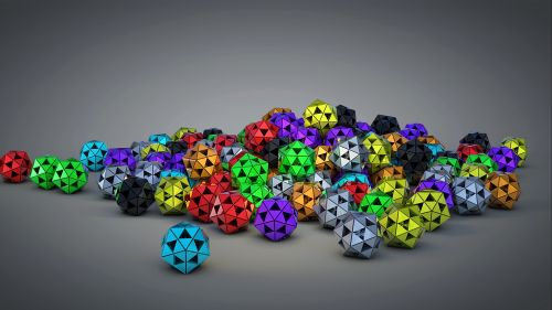 Polyhedron colored balls HD Wallpaper
