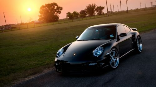 Porsche 911 Turbo Black HD Wallpaper