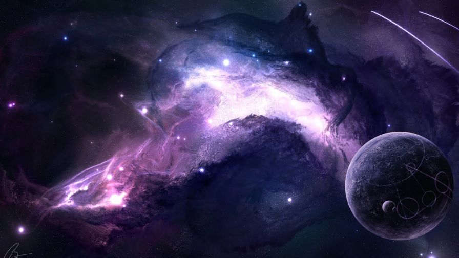 Purple Space Planets Wallpaper for Desktop and Mobiles