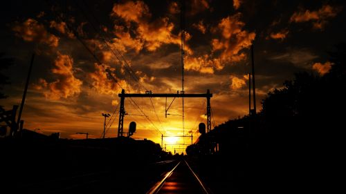 Railway during the sunset HD Wallpaper