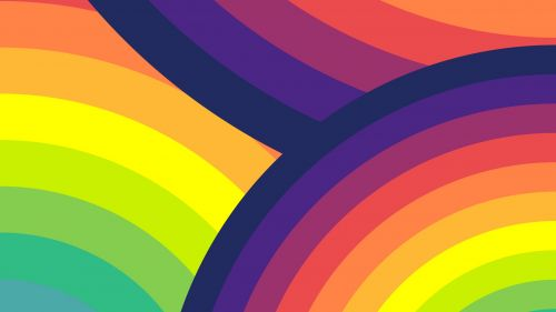 Rainbow circles HD Wallpaper