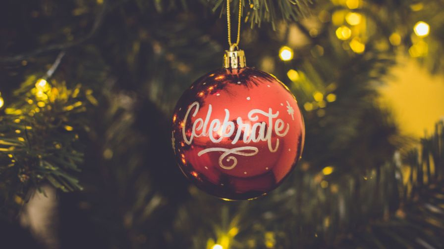 Red Celebrate Print Baubles Hang on Christmas Tree HD Wallpaper