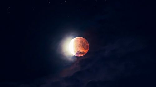 Red moon at the sky HD Wallpaper
