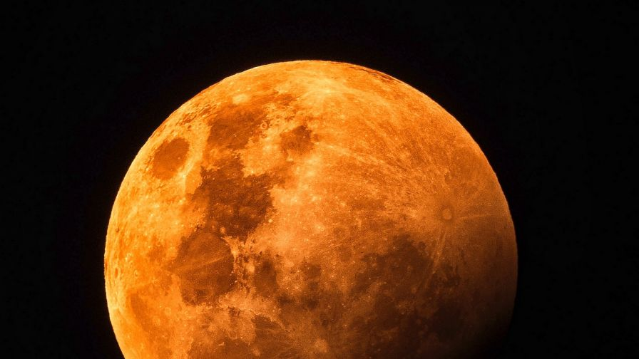 Red moon from satellite HD Wallpaper
