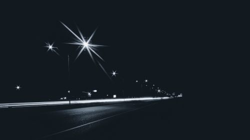 Road lights at night HD Wallpaper
