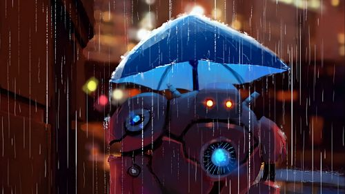 Robot under an umbrella HD Wallpaper