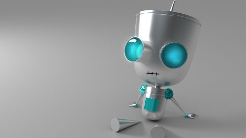 Robot with blue eyes HD Wallpaper