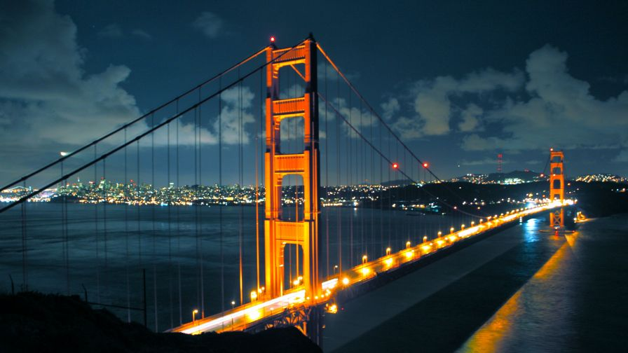 San Francisco Bridge at Night Full HD Wallpaper