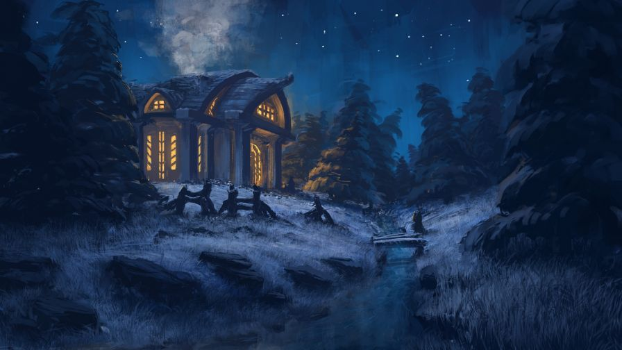 Scary animated house HD Wallpaper