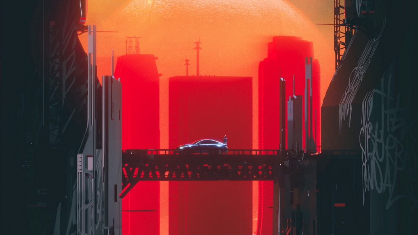 Sci-fi car over the city bridge HD Wallpaper