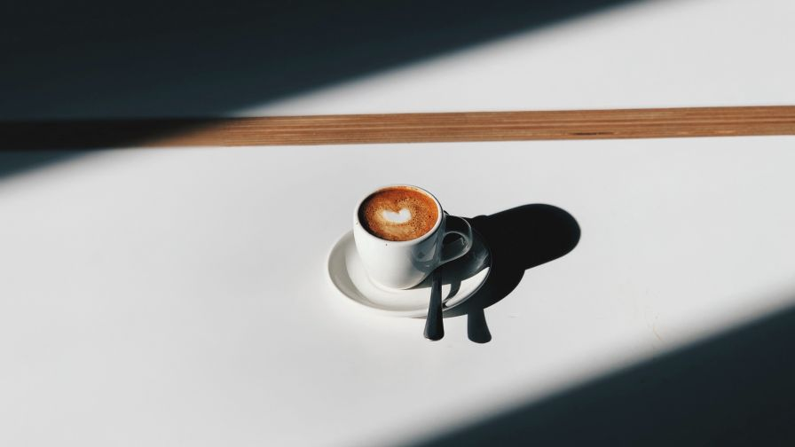 Shadow of a coffee cup HD Wallpaper