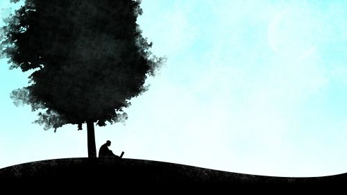 Silhouette Drawing Under a Tree Vector Wallpaper for Desktop and Mobiles
