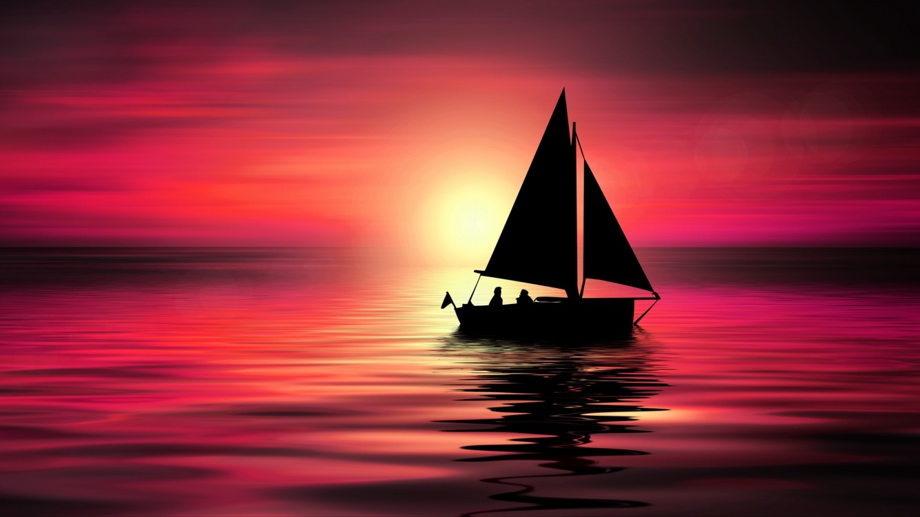 Silhouette of small yacht sailing on sea HD Wallpaper