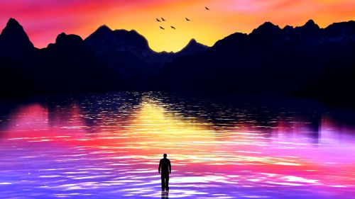 Silhouette wondeing at a colorfull sea HD Wallpaper