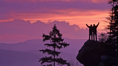 Silhouettes at the mountain HD Wallpaper