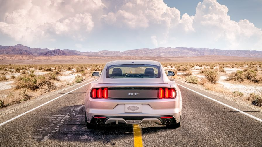 Silver Ford Mustang HD Wallpaper