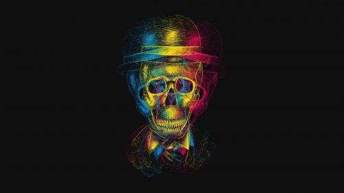 Skull anaglyph HD Wallpaper