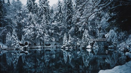 Snowing over the lake HD Wallpaper