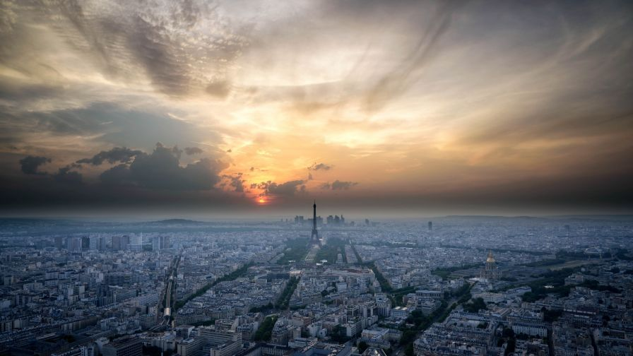 Sunset at Paris HD Wallpaper