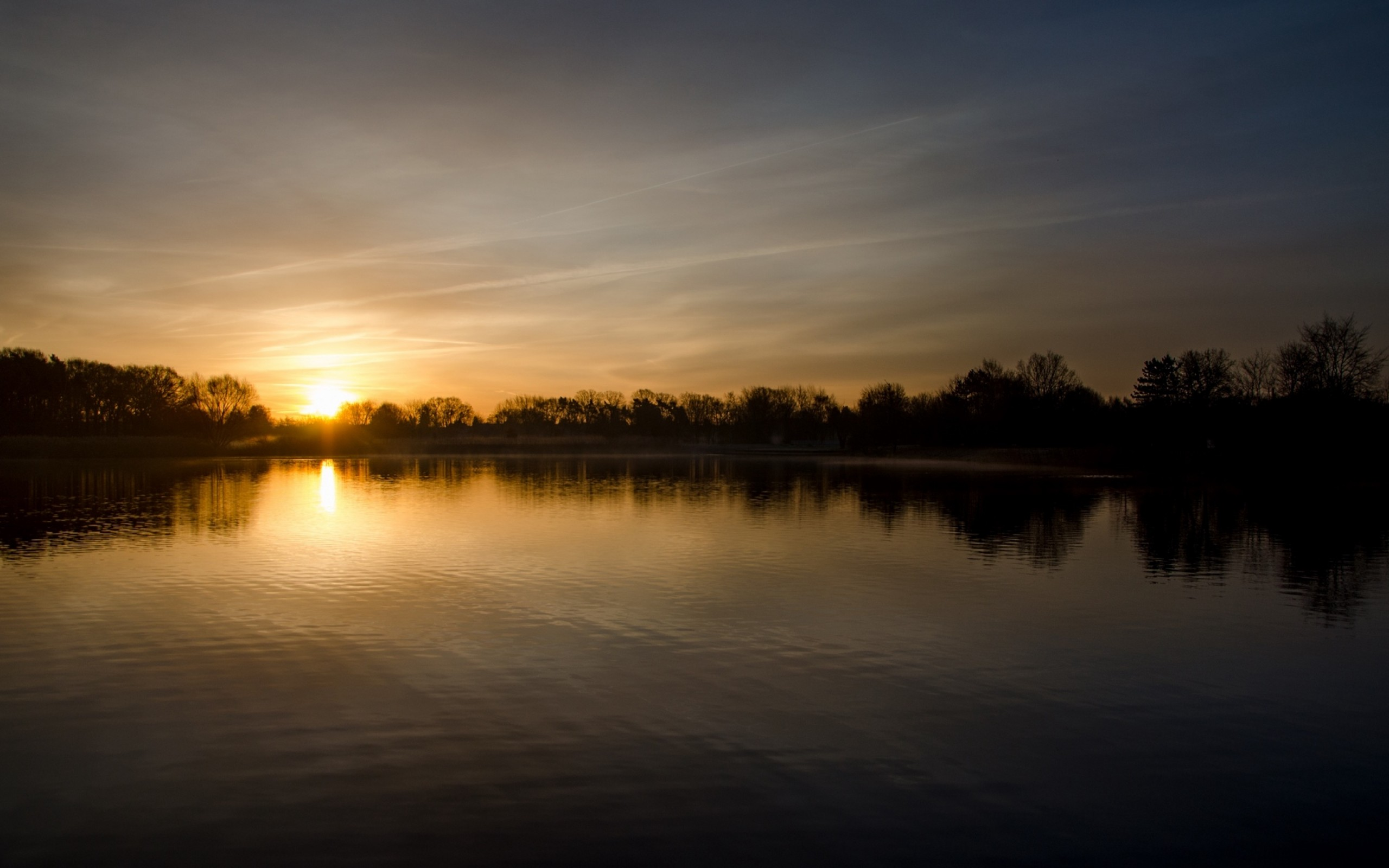 Sunset over the lake HD Wallpaper
