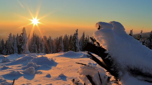 Sunset over the snow HD Wallpaper