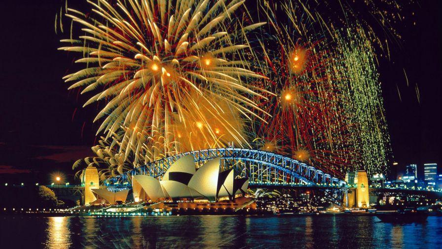 Sydney Harbor Bridge Fireworks HD Wallpaper