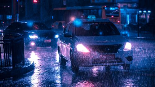 Taxi in a rainy day HD Wallpaper