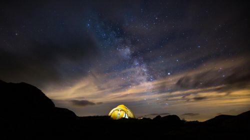 Tent under the stars HD Wallpaper